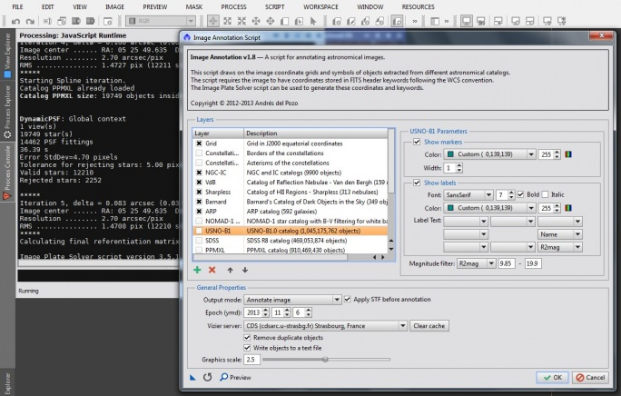 tutorial Riduzione Astrometrica con Pixinsight - Image_Annotation-openfits-runscript_parameters