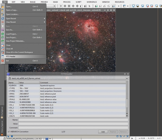 tutorial Riduzione Astrometrica con Pixinsight - Image_Solver_search_selectobj_found_own-setup_solved_savefits-openfits