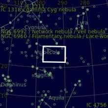 Dark & Emission Nebua in Vulpecula - mappa astronomica